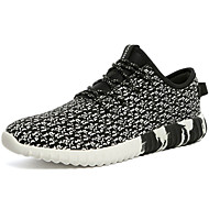 Men's Sneakers Spring Fall Comfort PU Outdoor Athletic Flat Heel Black Blue Red Running