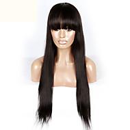 qualidade superior de cabelo humano reto de seda rendas frente perucas virgem brasileira com franja para as mulheres negras