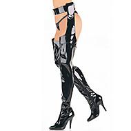 נשים-מגפיים-עור פטנט-מגפי אופנועים-שחור / אדום-מסיבה וערב-עקב סטילטו