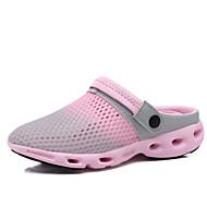 Femme-Décontracté-Bleu Gris-Talon Plat-trou Chaussures-Sandales-Polyuréthane