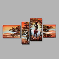Hand-Painted Southeast Asian style African Wonen Landscape Oil Painting on Canvas 4pcs/set With Frame Ready To Hang