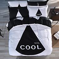 גיאומטרי סטי שמיכה 4 חלקים כותנה דוגמא הדפסה תגובתית כותנה זוגי / קווין / קינג כיסוי שמיכת יחידה 1 / כריות מיטה 2 יחידות / סדין יחידה 1