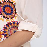 Blusa Da donna Casual Semplice Estate,Con stampe Stondata Poliestere Blu / Beige Mezze maniche Medio spessore
