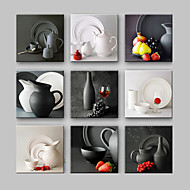 E-HOME® Stretched Canvas Art  Kettle And Tableware Series Decoration Painting MINI SIZE One Pcs