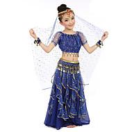 Dans din Buric Ținute Pentru copii Performanță Șifon Satinat Poliester Monede Aurii 7 Piese Mânecă scurtă NaturalVârf Fustă Centură