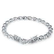 S925 Silver Bracelet  Chain Bracelets 1pc Fashion Personality 3D Dragon Pattern Men's Jewelry New Year Christmas Gift