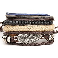 4pcs/set Punk Men's Bracelet PU Leather Bracelet Feather Adjustable Beads Multilayer for Men Fashion Jewelry Christmas Gifts