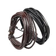 Bracelet Wrap Bracelet Leather Bracelet Adjustable Rope Brown and Black Unisex Cuff Bracelet Bangles Multilayer Wrist Band 1 pc Christmas Gifts