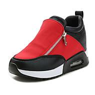 Női Magassarkúak Kényelmes Bőrutánzat Tél Hétköznapi Kényelmes Cipzár Lapos Fekete Ezüst Piros Lapos