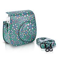 Trompetenblume PU-Leder Tasche für Fujifilm Instax mini 8 Instant-Filmkamera, grün