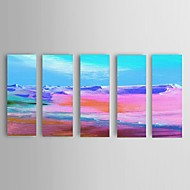 Håndmalte Abstrakt / Landskap / Abstrakte Landskap olje malerier,Moderne / Europeisk Stil Fem Paneler LerretHang