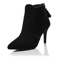 נעלי נשים-נעליים ללא שרוכים-סוויד-עקבים / חדשני / גלדיאטור / בלרינה בייסיק / שפיץ / מגפי אופנה-שחור / אפור-חתונה / שמלה / מסיבה וערב-עקב
