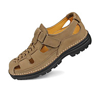 Men's Sandals Spring / Fall Sandals Nappa Leather Casual Low Heel Others Black / Brown / Yellow / Khaki