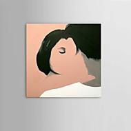 מצויר ביד מופשט / אנשים / Fantasy / ציור אבסטרקט ציורי שמן,מודרני / פסטורלי / סגנון ארופאי פנל אחד בד ציור שמן צבוע-Hang For קישוט הבית