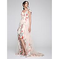 Formeller Abend Kleid A-Linie Herzausschnitt Asymmetrisch Tüll mit Knöpfe / Muster / Druck / Überkreuzte Rüschen