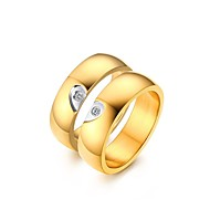 "2016 ""Heart"" Noble Titanium Steel CZ Stone Wedding Couples Ring  For Women&Man"