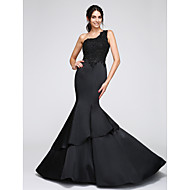 TS Couture® Formal Evening Dress Trumpet / Mermaid One Shoulder Chapel Train Satin with Appliques