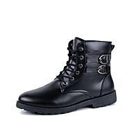 גברים-מגפיים-עור-מגפי אופנה / מגפי אופנועים / מגפי צבא-שחור / חום-שטח / קז'ואל-עקב שטוח