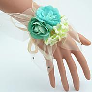 """Svatební kytice ručně vázané Růže Živůtek na zápěstí Svatba Zelená Polyester / Tyl / imitace drahokamu 7 cm (cca 2,76"""")"""