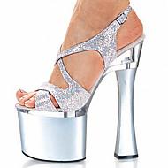 Feminino-Saltos-Saltos / Plataforma / Sandálias-Salto Grosso-Preto / Prateado-Gliter / Materiais Customizados-Casamento / Social / Festas