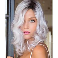 curto bob ondulação natural lasca cinza de fibra resistente ao calor peruca sintética para as mulheres da moda