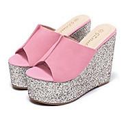 נעלי נשים-כפכפים & כפכפים-PVC-פלטפורמות / פתוח-שחור / ורוד-קז'ואל-עקב שטוח