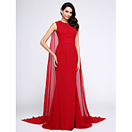 TS Couture Formal Evening Dress - Elegant Trumpet / Mermaid Jewel Watteau Train Chiffon with Ruching