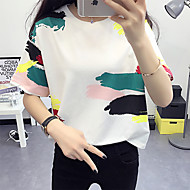 Women's Casual/Daily Simple Summer T-shirt,Print Round Neck Short Sleeve Multi-color Cotton Thin