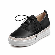 Women's Flats Fall / Winter Comfort / Flats Denim / Rubber Office/ Casual Flat Heel Ribbon Tie Black/Blue/Pink/ White