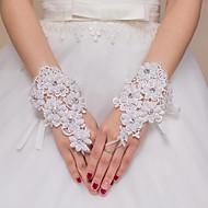 Até o Pulso Sem Dedos Com Dedos Luva Renda Tule Poliéster Cetim Elástico Luvas de Noiva Luvas de Festa Primavera Verão Outono Inverno