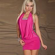 여성의 드레스 홀터 넥 민소매 미니 면 / 스판덱스
