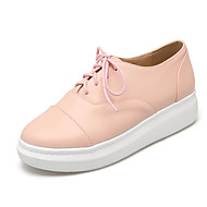 Damen-Sneaker-Büro Kleid Lässig-Kunstleder-Plateau-Komfort-Schwarz Rosa Weiß