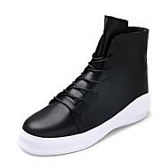 男性-アウトドア-PUレザー-プラットフォームブーツ-ブラック ホワイト ブラックとホワイト