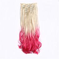Nový přírůstek 7ks / set prodlužování vlasů pod v syntetických složených ombre prodlužování vlasů 613tpink příčesek dip barvivo ombre