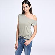 Vrouwen Eenvoudig / Street chic T-shirt,Casual/Dagelijks Effen Schouderafhangend Korte mouw Wit / Zwart / Groen Polyester Dun