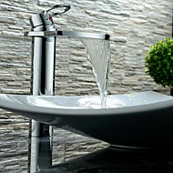 Contemporary Waterfall Single Handle Chrome Finish Bathroom Sink Faucet - Basin Mixer Tap(High)