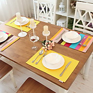 Contemporary And Contracted Rainbow Stripe Rectangular Table Insulation Pad