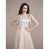 Wedding  Wraps Coats/Jackets 3/4-Length Sleeve Sequined Gold Wedding / Party/Evening Scoop Sequin Open Front