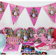 יוקרה sofia 78pcs צד evnent ציוד למסיבות ילדים קישוטים מסיבת יום הולדת קישוט 6 אנשים משתמשים