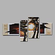 Ručně malované Abstraktní / Krajina / Zátiší / Fantazie / Abstraktní krajinka olejomalby,Moderní / Pastýřský / evropský styl Čtyři panely