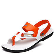herresko skinn uformelle sandaler uformell gang flat hæl andre blå / hvit / orange