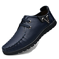 Men's Shoes Cowhide / Nappa Leather / Leatherette Casual Flats Casual Walking Flat Heel Lace-up Black / Blue / Red