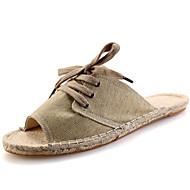 Men's Slippers & Flip-Flops Spring / Summer / Fall Slippers Canvas Dress / Casual Flat Heel Braided Strap Beige