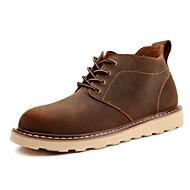 Masculino-Botas-Conforto / Botas da Moda / Trabalho & Segurança-Salto Baixo-Preto / Marrom-Couro / Napa Leather / Pele-Ar-Livre / Casual