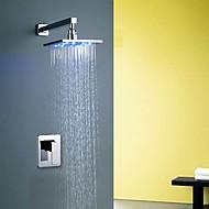Modern Muurbevestigd LED / Inclusief handdouche with  Keramische ventiel Single Handle Een Hole for  Chroom , Douchekraan / Badkraan /