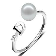 Anéis de Casal Anéis Meio Dedo Maxi anel Pérola Pérola Prata de Lei Crossover Moda Ajustável Adorável Personalizado Branco Roxo Rosa claro