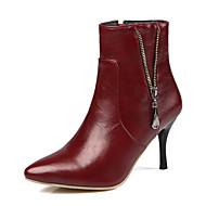 Bootsit-Piikkikorko-Naisten-Tekonahka-Musta Valkoinen Burgundy-Häät Puku Juhlat