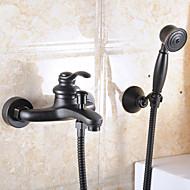 Contemporâneo Montagem de Parede Válvula Cerâmica Monocomando Dois Buracos with Bronze Oleado Torneira pia do banheiro