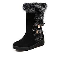 Dames Laarzen Herfst / Winter Modieuze laarzen Kunstleer Formeel Platte hak Overige Zwart / Bruin / Rood Others