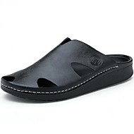 Herren-Slippers & Flip-Flops-Lässig-Leder-Flacher Absatz-Komfort-